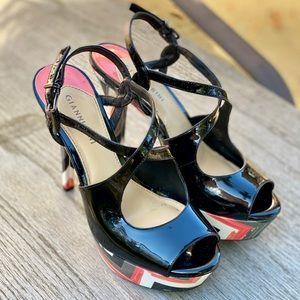 Gianni Bini Platform Chevron Print Heels
